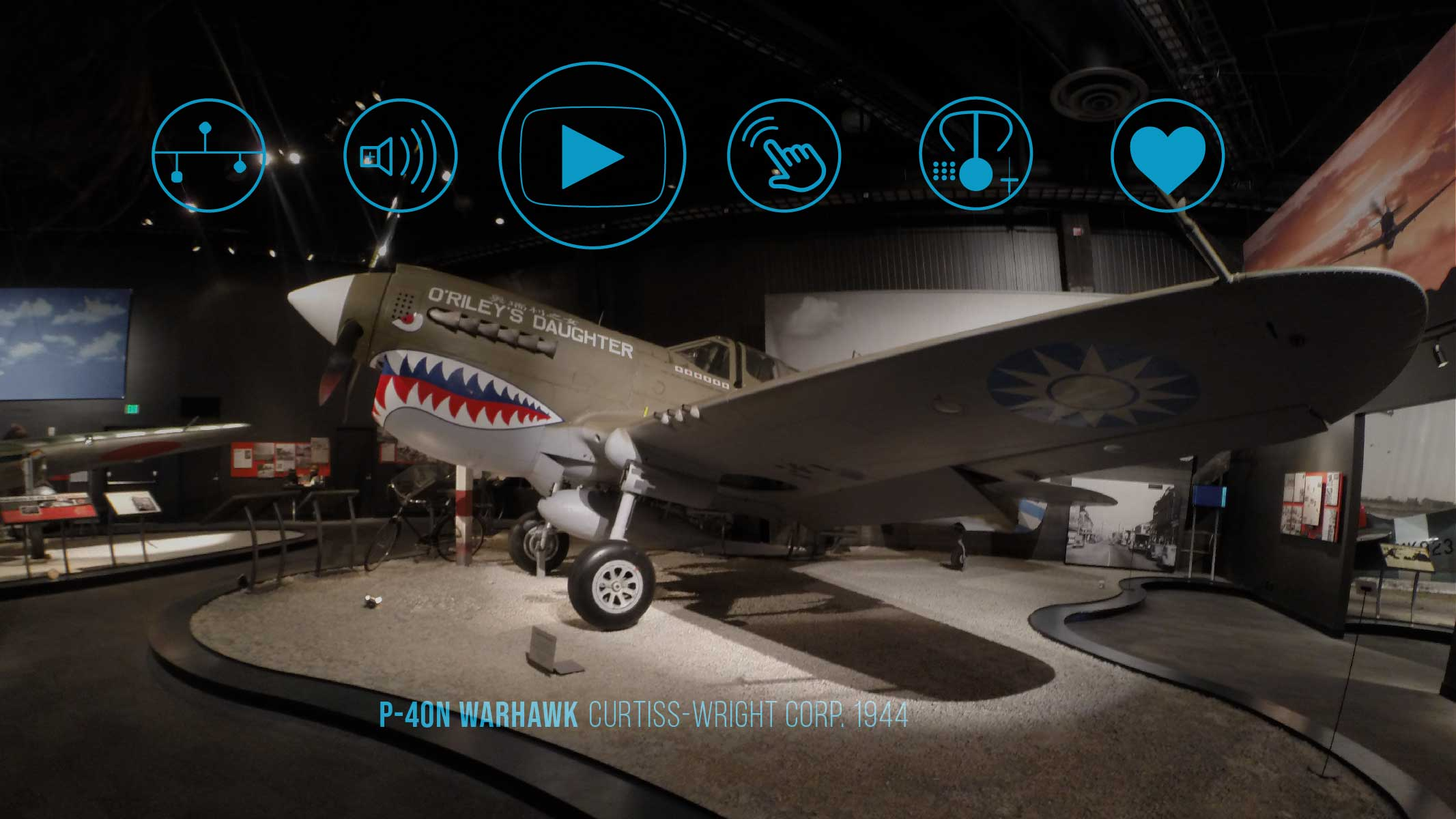 a mock-up image of the active/open state of the FARTHER AR exhibit interface overlayed on an exhibit at the Museum of Flight