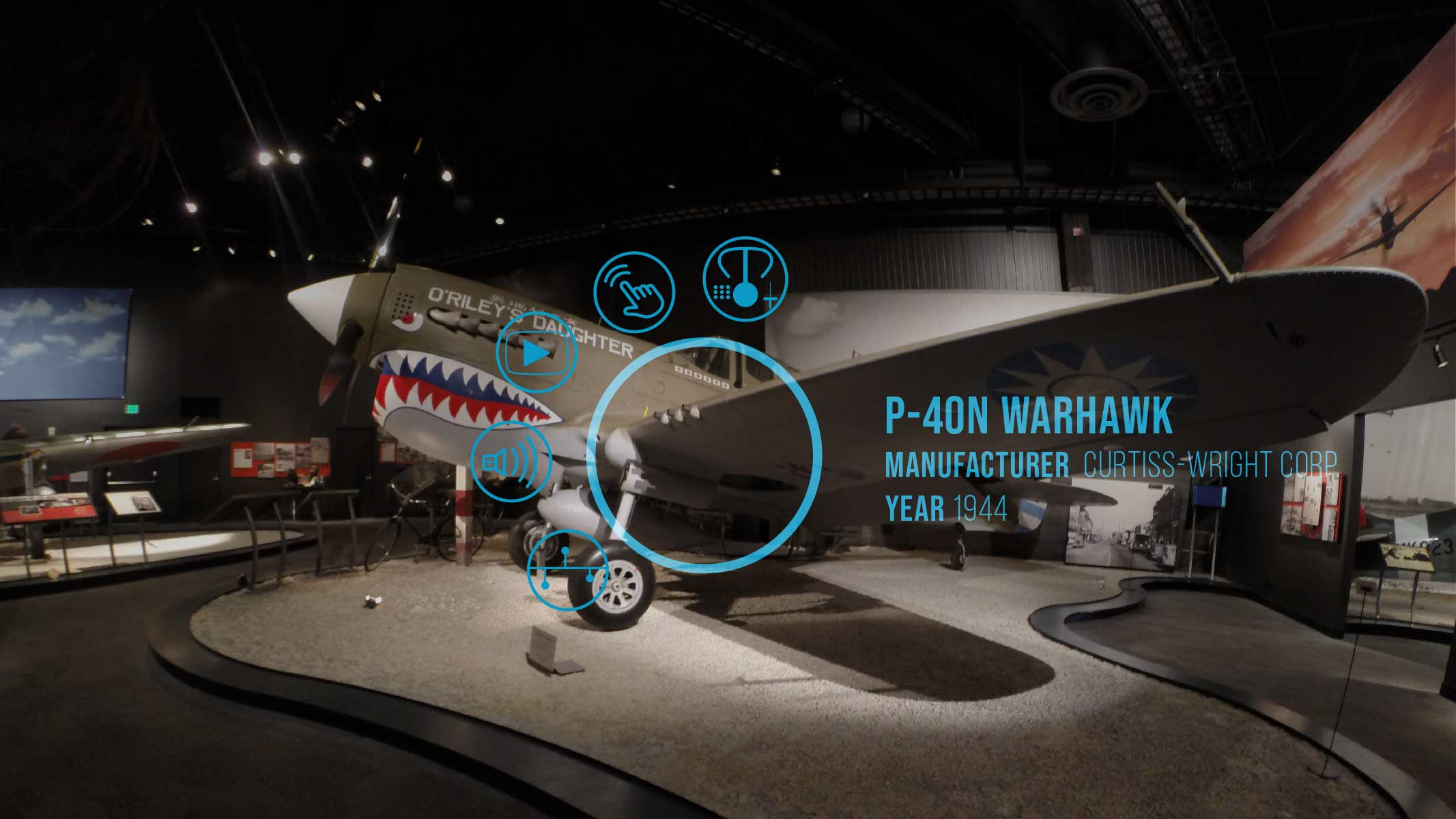 a mock-up image of the hover state of the FARTHER AR exhibit interface overlayed on an exhibit at the Museum of Flight
