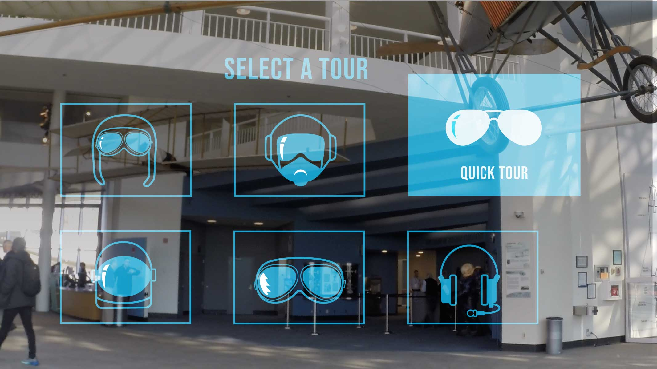 a mockup of the FARTHER interface inviting the user to choose from one of six tours. the Quick Tour option is highlighted.